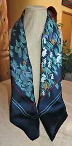 Totes square scarf; bunnies & reeds; SILK; 31x31; blue, rust, white, red, aqua