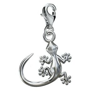 925 Sterling Silver Clip On GECKO CHARM 13mm w/ lobster trigger clasp
