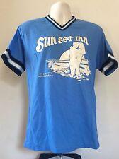Vtg 80s Sun Set Inn Rochester Ny Softball Jersey Blue M Nylon Manager #00