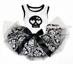 Halloween Skull White Sleeveless Black Damask Black Bow Pet Dog One Piece Dress
