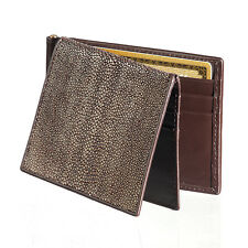 Men's Stingray Skin Wallet & Money Clip Ultra Slim Weathered Chocolate Tri-Fold