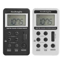 Mini Digital Portable Pocket LCD AM FM Radio Stereo USB Receiver w/Headphone