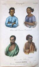 1845 CARATTERI FISIONOMICI TAHITI HAWAII MALAYSIA acquaforte Marmocchi ethnicity