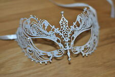 Veneciana De Metal Blanco Máscara De Filigrana Masquerade Diamante Ball. prom/ball/wedding.