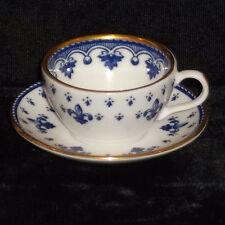 DISCONTINUED SPODE MINI / MINIATURE BLUE FLEUR DE LYS TEA CUP & SAUCER MINT