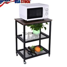 Serving Cart 3-Tier Kitchen Utility Cart On Wheels With Storage For Living Room