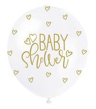 "Pearlised 12"" Latex Balloons - White & Gold Baby Shower 5pk"