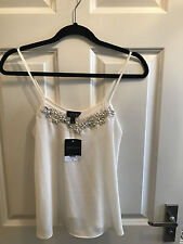 *BNWT* TOPSHOP CREAM EMBELLISHED CRYSTAL PEARL FLOWER STRAPPY CAMISOLE VEST UK 6