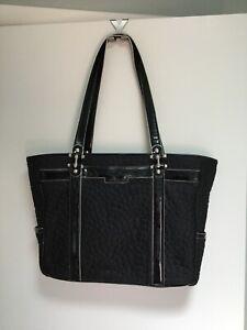 Large Vera Bradley Work Tote Computer Bag Black Microfiber Briefcase