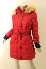 Bar Iii Brick Red Fur Trim Hooded Belted Puffer Coat L 250