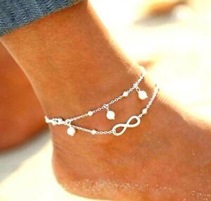 Fußkette Perle Infinity Fußschmuck Fußkette Unendlichkeit Damen Silber NEU