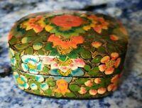 Antique Paper Mache Lacquer Trinket Box Kashmir India Flower Motif