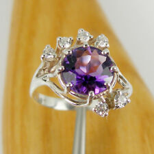 1.90 carat Natural Amethyst and CZ Claw Ring Genuine 925 Sterling Silver - R647