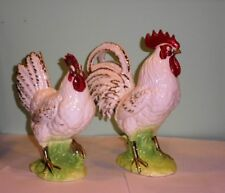 "Vintage Norcrest Pair Roosters Japan Beautiful Vibrant Colors 8.5 and 10.5"" Tall"