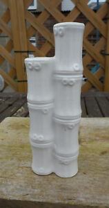 UNUSUAL WHITE SPILL VASE SHAPED LIKE3 PIECES OF BAMBOOJOINED TOGETHER. 16 CM TAL