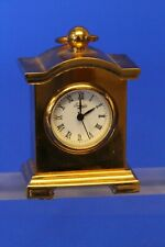 Vintage miniature brass clock, working order H:50mm *[19724]