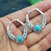Vintage Boho Tibetan 925 Silver Turquoise Dangle Hook Earrings Women Jewelry