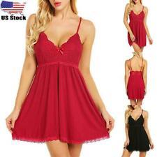 Womens Ladies Sexy Lingerie Lace Babydoll Nightdress Nightie Sleepwear Dress