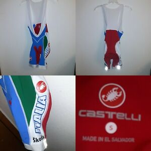 Castelli Full Bicycling padded reflective Suit Skoda ITALIA Size S 30 x 32