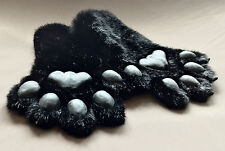 Fursuit Pawhands Paws Gloves Furry Faux Fur Handmade Silicone Pads Black