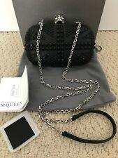 NIB Alexander McQueen Black Studded Union Jack Skull Clutch Bag Handbag $2650