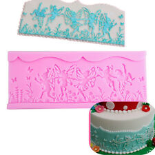 Fairy Border Silicone Flower Butterfly Fondant Cake Mold Lace Mould Cupcake Tool