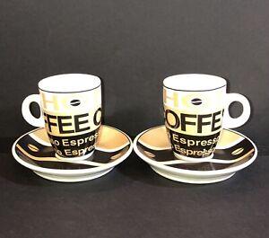 I. Godinger Company SET OF 2 ESPRESSO DEMITASSE Cups and Saucers  Coffee