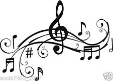 "CUTE FUNNY VINYL DECAL MUSIC NOTE REMOVEABLE WALL ART 8""X11"""