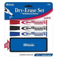 Chisel Tip Dry Erase Whiteboard Marker Eraser Set Coloring Drawing Writing #1208
