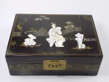 Rare Art Nouveau Peinture Bois Boîte à Bijoux Art Asiatique Chine Incrustations