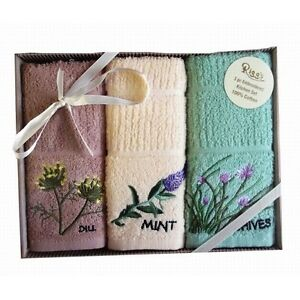 New Herbs 3pc Embroidered Kitchen Towels