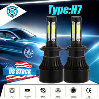 2x H7 4 Sides LED Headlight Kit 2400W 360000LM High or Low Beam Bulb 6500K