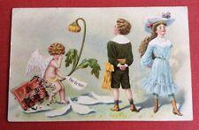CPA. Couple Enfants Adolescents. Cupidon. Langage. Pas du tout. Amour.