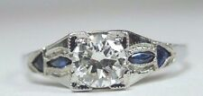 Antique Vintage Diamond Engagement Ring 18K White Gold Size 6.5 UK-M1/2 EGL USA