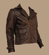 Avenger Captain America Brown Biker Genuine Leather Jacket Chris Evans BNWT