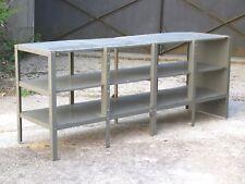 Ancien meuble bas à étagères d'atelier, industriel, en métal