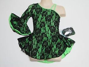 ICE SKATING COMPETITION DRESS Lime Green & Black One Sleeve Crystals Child S
