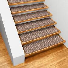 Set of 15 Skid-resistant Indoor Carpet Stair Treads - Praline Brown - 8 In. X 30 In.