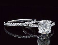 4.10 Ct. Real Cushion Cut Pave Diamond Engagement Ring Set - GIA Certified