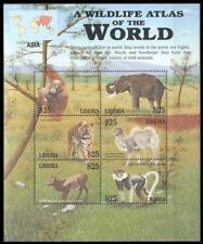 Liberia 2001 MNH SS, Animals of Asia, Elephant, Tiger, Monkey Camel Gorilla (L2n