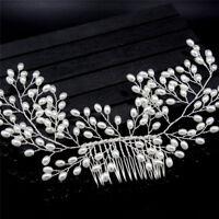 Luxury Vintage Bride Hair Accessories Handmade Pearl Wedding Jewelry Comb ME