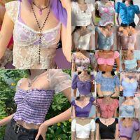Women Summer Puff Sleeve Crop Top T-Shirt Ladies Square Neck Short Sleeve Blouse