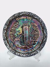 Fenton Purple Carnival Glass Christmas in America No. 1 Collector Plate 1970
