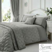 Serene Laurent Damask Jacquard Duvet Cover Bedroom Range Graphite