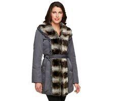 Dennis Basso Water Resistant Coat w/Faux Chinchilla Fur Trim Size XS NWOT $139
