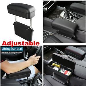 Black Pu Leather Car Center Console Armrest Box Retractable Seat Gap Organizer