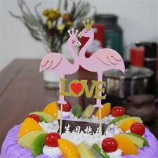 1PC flamingo love Cake Topper Decor For Wedding Birthday Party SuppliesSC