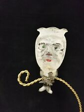Rare Vintage German 1920's Santa Head Candle Holder on Clip Glass Ornament 3.5""