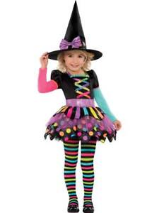 Deluxe Girls Toddler Miss Matched Witch Halloween Fancy Dress Costume Outfit 2-8