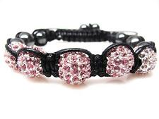 Pink Crystal Hematite Beaded Shamballa Disco Ball Bracelet  #9